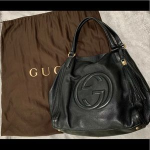 9d445568f353 Gucci Black leather Soho large tote